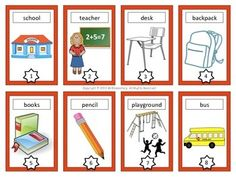 Back to School Vocabulary Cards - This is a set of 16 back to school vocabulary cards that you can use with your students when teaching writing or word work at the beginning of the year.