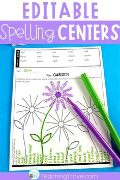 Quickly make spelling centers for your first, second or third grade students. With a choice of 49 activities that you can edit to include the spelling words your students need, you'll have…