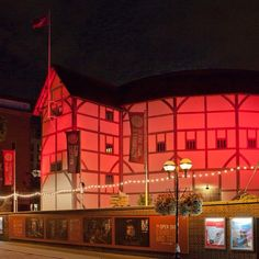 Shakespeare's Globe lit up in red for Chinese New Year. Theatre Stage, Globe Theatre, Theater, Globe Lights, Chinese New Year, Shakespeare, Daydream, Light Up, Close Up
