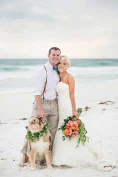 Bride and Groom Portraits on the Beach with their Dog | Sweet Julep Photography on @eld_lauren via @aislesociety