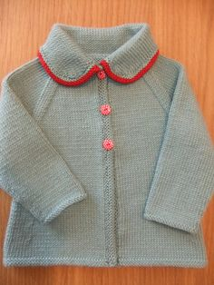 Vintage style hand knitted teal and red baby by TillyandLola