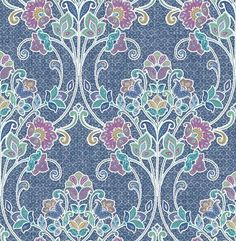 Product Description The Willow Indigo Nouveau Floral 1014-001807 wallpaper from the Kismet collection brings an exquisitely detailed pattern to your walls. Featuring Jacobean florals set against a pat