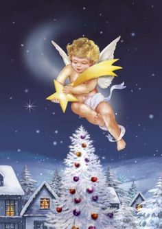 Angel flying with a star in the hands.A present of God. Everybody dreams of such present of luxury. Watercolor Christmas Cards, Vintage Christmas Cards, Christmas Greeting Cards, Christmas Greetings, Paper Illustration, Christmas Illustration, Illustrations, Holiday Images, Christmas Pictures