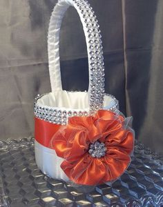Ivory Flower Girl Basket with Poppy Flower and by AllAHeartDesires, $42.00