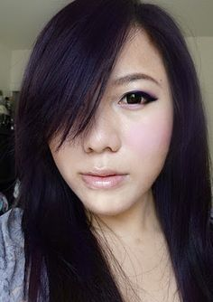 Violet black hair color! This shade is really suitatble to tender girls!