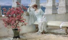 her eyes are with her thoughts and they are far away - alma-tadema