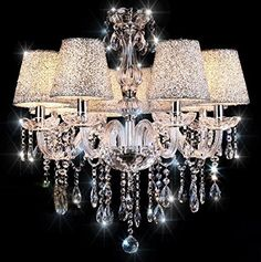 TOPMAX First-rate Crystal Chandelier Lighting With Lampshade E14 6 Lights For Interior Decoration TOPMAX