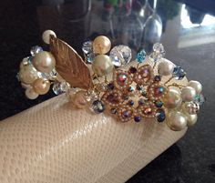 Gold tone, handmade bridal tiara with pearls and crystals on Etsy, £62.50