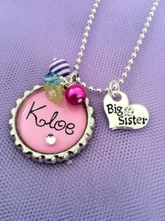 Personalized Girl's Charm Necklace Pink Big Sister by JosiesJewelz, $18.00