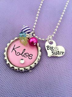 Personalized Girl's Charm Necklace Pink Big Sister by JosiesJewelz, $18.00