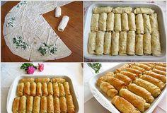 sulu börek yapılışı Greek Cooking, Cooking Time, Pastry Recipes, Cookie Recipes, Tapas, Empanadas, Bread And Pastries, Turkish Recipes, Mediterranean Recipes