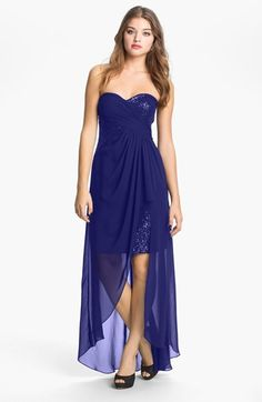 Hailey by Adrianna Papell Strapless Sequin Chiffon Overlay Gown (Online  Only) available at   be440072e3c