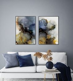 Beautiful abstract art made with alcohol ink by Norwegian artist and designer Linda Skaret. Blue Lotus, Living Room Interior, Scandinavian Style, Abstract Art, Tapestry, Interior Design, Artist, Artwork, Painting