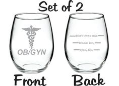 Etched OB/GYN Gynecologist Glass Set of 2 FREE by WulfCreekDesigns, $29.95