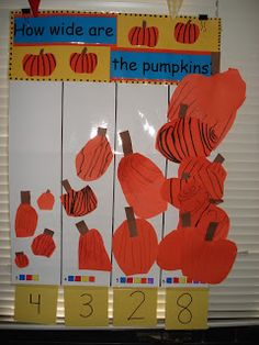 model measurement of real class pumpkin and students create/measure their own pumpkin with unifix cubes