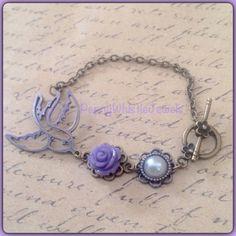 Purple Bird Bracelet, Sparrow Bracelet, Vintage Charm Bracelet, Vintage Inspired Bracelet, Purple Resin Rose Bracelet, Handmade Jewelry