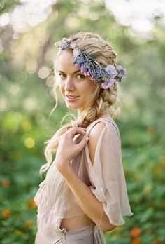 Brides: The Prettiest Wedding Hairstyles with Flower Crowns| A Bohemian Flower Crown and French Braid Hairstyle | Photo by Jose Villa