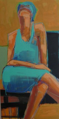 "Gail Ragains | by SJICA Sitting Figure, 2015 Acrylic on canvas 24 x 48"" Retail Price: $3,000 Courtesy of the Artist"