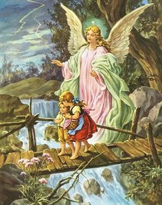 Guardian Angel with Children by Lindberg Heilige Schutzengel always loved this picture had one as a little girl in my room. Guardian Angel Pictures, My Guardian Angel, Paint By Number Diy, Engel Tattoos, Clara Berry, I Believe In Angels, Angels Among Us, Angel Art, Print Pictures