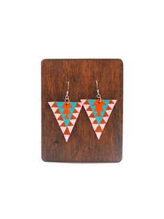 Hand Painted Aztec Tribal Leather Earrings by AimeeIsmerio