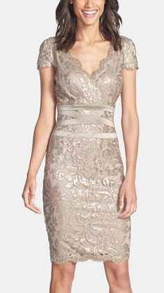Embellished sheath dress in champagne