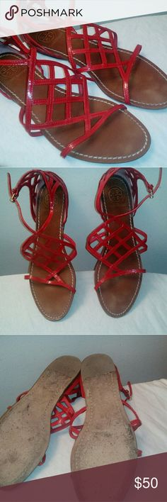 42ad6541 Tory Burch Shoes Fire red sandals, worn a handful of times . ton of life