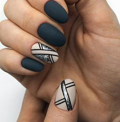 130 cute spring nail art designs to spruce up your next mani page 44 Cute Spring Nails, Spring Nail Art, Dark Nails, Matte Nails, Dark Nail Art, Silver Nail Art, Classy Nails, Trendy Nails, Perfect Nails