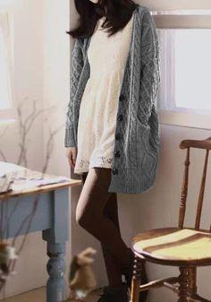 Cable Knit Oversized Cardigan - Grey | lè wardrobe siorée ...