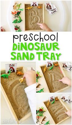 Preschool: Dinosaurs Sand Tray for Writing – Mrs. Plemons' Kindergarten Preschool: Dinosaurs Sand Tray for Writing – Mrs. Dinosaur Theme Preschool, Montessori Preschool, Dinosaur Activities, Preschool Writing, Preschool Learning, Montessori Elementary, Math Activities, Dinosaur Dig, Preschool Education