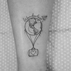 What does wanderlust tattoo mean? We have wanderlust tattoo ideas, designs, symbolism and we explain the meaning behind the tattoo. Mini Tattoos, New Tattoos, Cool Tattoos, Tatoos, Tattoos For Women Small, Small Tattoos, Balloon Tattoo, Dibujos Tattoo, Tattoo Und Piercing