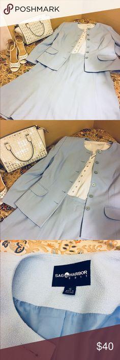 Sag Harbor Skirt Suit Set Baby Blue Size 14 Sag Harbor Skirt Suit Set Baby Blue Size 14 Jacket and Skirt  Quality! Extras not included Sag Harbor Jackets & Coats Blazers
