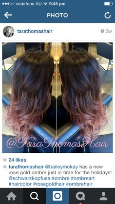 Brunette to rose gold ombre