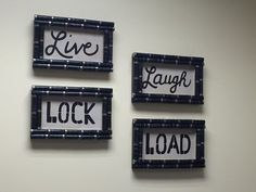 Live, Laugh, Lock, Load!  This set of 4 shotgun shell wall signs is a great way ...