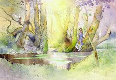 Fairy Watercolour Fairies Woodland Pool by TerryCulpanGallery