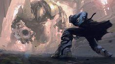 巨大ロボと戦うサイボーグを描いたかっこいいイラスト壁紙画像