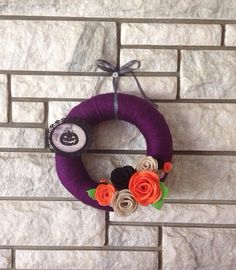 Yarn Wreath Handmade Felt Decoration  Purple and by SasiRose, $26.25