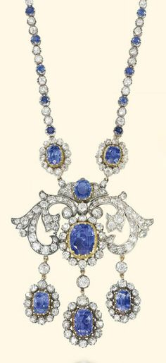 AN SAPPHIRE AND DIAMOND NECKLACE, Of girandole design, suspending an old-cut diamond-set pendant with central cushion-shaped sapphire and diamond cluster to the three similarly-set sapphire pendants, with associated collet neckchain, mounted in silver and gold, pendant circa 1890, adapted, later neckchain, 45.0cm long