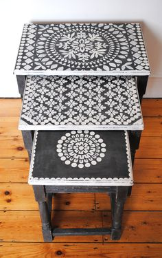 One of the first projects I stencilled using stencils which I cut by hand! nicolettetabram.co.uk #stencils #nicolettetabramstencils #paintedfurniture