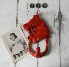 coat hook rustic red hook horse decor bedroom decor by ShabbyRoad