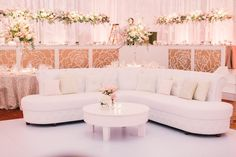Wedding reception lounge furniture white tufted sofa with light pink and tan…