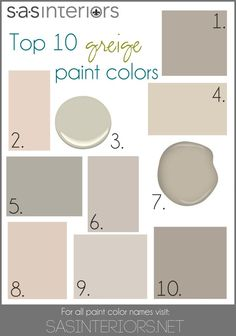 Colors Include: 1. Sherwin Williams Mega Greige 2. Valspar Woodrow Wilson Putty 3. Benjamin Moore Hazy Skies 4. Sherwin Williams Canvas Tan 5. Behr Granite Boulder 6. Glidden Martha Stewart Sharkey Gray 7. Benjamin Moore Gallery Buff (that's my color!) 8. Valspar Bay Sands 9. Behr Mineral 10. Sherwin Williams Perfect Greige