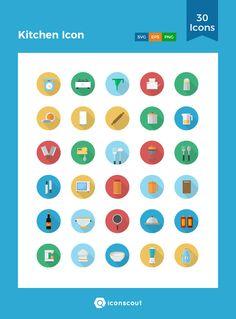 Kitchen Icon  Icon Pack - 30 Flat Icons