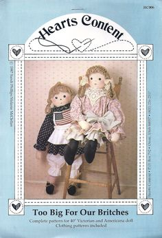 "40"" VICTORIAN and AMERICANA DOLLS SEWING PATTERNS - ""Too Big For Our Britches"" - at KrissesKorner on Etsy"