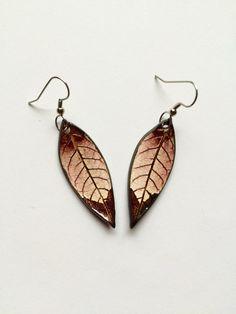 Small Bronze Ceramic Leaf Earrings by AlainaSheenDesigns on Etsy