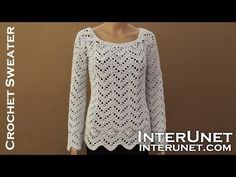 Long sleeve sweater crochet pattern. Learn how to crochet lace pullover. - YouTube