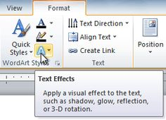 The Text Effects command