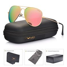 14a1aa580fd8 LUENX Men Aviator Sunglasses Polarized - UV 400 Protection with case 60MM  Classic Style Aviators Women