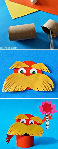 Lorax toilet paper roll craft for kids inspired by Dr. Seuss' book The Lorax. It was pretty easy to make and only required a lot of cutting. http://hative.com/dr-seuss-crafts-for-kids/