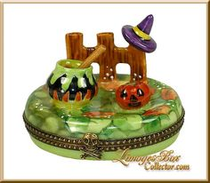 Witchs Brew in Pumpkin Patch Limoges Box by Beauchamp