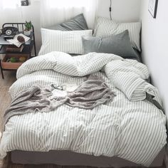 Moomee bedding duvet cover set washed cotton linen like bedding . - Moomee bedding duvet cover set washed cotton linen like bedding structure breathable durable s - White Duvet Covers, Bed Duvet Covers, Duvet Cover Sets, Black Duvet Cover, White Duvet Cover Queen, Queen Size Duvet Covers, Striped Bedding, Grey Bedding, Home Decor Accessories